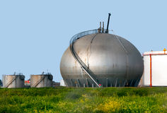 Natural Gas Tank. Over the gren grass royalty free stock photography