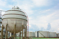 Natural Gas Tank. On petrochemical Royalty Free Stock Photos