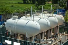 Natural gas tank in the petrochemical industry.  stock image