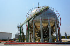 Natural Gas Tank. On petrochemical plant Stock Photography