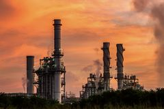 Natural gas turbine electric power plant support factory stock photos