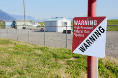 Natural Gas Warning Signage and Meter Station Royalty Free Stock Image