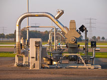 Natural gas well. Modern natural gas well detail during sunset Royalty Free Stock Photos