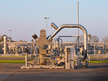 Natural gas well processing plant backdrop. During sunset Stock Photography