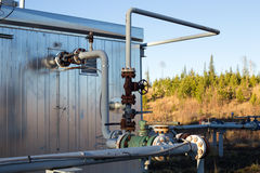 A natural gas wellhead shack Stock Images