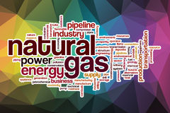 Natural gas word cloud with abstract background Royalty Free Stock Image