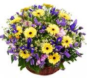 Natural gerberas and irises in a basket Royalty Free Stock Photos
