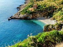 Natural Gipsy Reserve bay gulf sea Sicily italy. Natural Gipsy Reserve bay gulf sea Sicily in italy Royalty Free Stock Photos