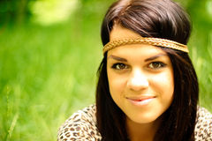 Natural girl. Beautiful natural girl outdoors in the forest stock photos