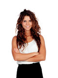 Natural girl with curly hair. Isolated on a white background stock image