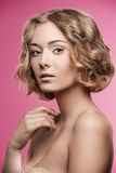 Natural girl with short curly hair Royalty Free Stock Photography