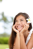 Natural girl smiling and daydreaming happy cute Stock Photo