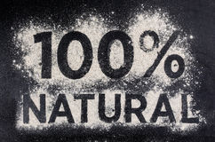 100 natural, gluten free food, word made of flour Royalty Free Stock Image