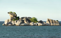 Natural granite rock formation at sea in the afternoon, Belitung. Natural granite rock formation at sea  in the afternoon, Belitung Island Indonesia Stock Photo