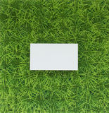 Natural green background with green grass and a business card Royalty Free Stock Photos