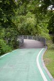 Green bike lane in the park. Natural green and calm bike lane in the park around with many tree stock photo