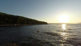 Coast of Croatia. Natural green coast of Croatia in autumn stock video