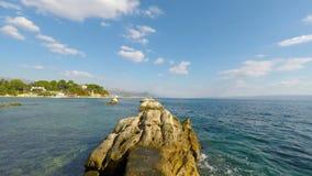 Coast of Croatia. Natural green coast of Croatia in autumn stock video footage