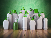 Natural green detergent bottles or containers. Cleaning supplies Stock Photo
