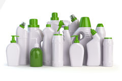 Natural green detergent bottles or containers. Cleaning supplies Stock Photos