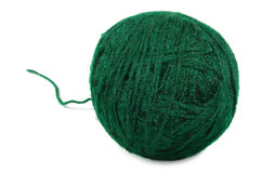 Natural green fine wool ball and loose thread, isolated clew, large detailed macro closeup Stock Photo
