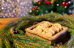 Natural green fir christmas wreath and oat cookies Royalty Free Stock Photography