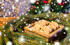 Natural green fir christmas wreath and oat cookies Royalty Free Stock Image