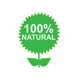 100% natural. Green flower with the text 100% natural written on it stock illustration