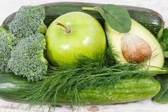 Natural green fruit and vegetables as source vitamins and minerals, healthy nutrition concept Royalty Free Stock Image