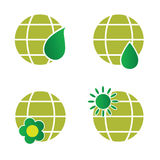 Natural green globe icon illustration Royalty Free Stock Photo