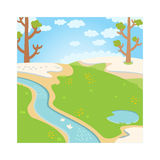 Natural green grass spring background with river, trees, birds and white clouds vector. Royalty Free Stock Photography