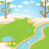 Natural green grass spring background with river, trees, birds and white clouds vector. Stock Photography
