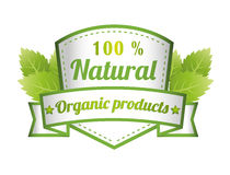 100% Natural Green Label Isolated Vector Illustration Royalty Free Stock Photo
