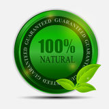 100% natural green label isolated on white.vector. Illustration. This is file of EPS10 format Royalty Free Stock Photo