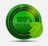 100% natural green label isolated on white.vector Stock Photos