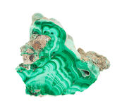 Natural green malachite on white. Geological specimen of natural green layered mineral malachite - semiprecious stone and copper ore, isolated on white stock photography