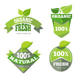 Natural green organic eco labels set. Bio sticker with leaf, vector illustration Royalty Free Stock Photo
