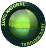 Natural Green Round Orb. 100 Percent Natural Orb of Earth with Green Liquid inside the Sphere, Vector Illustration on White Background Stock Illustration