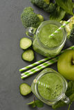 Natural green smoothie with broccoli and spinach Stock Images