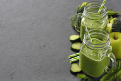 Natural green smoothie with broccoli and spinach Royalty Free Stock Photos