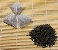 Natural green tea and tea bags Stock Photos