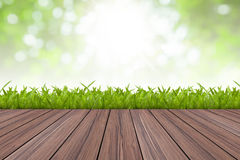 Natural green and wood floor Stock Photography