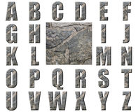 Natural Grey Stone Texture Alphabet. Capital alphabet letters created with texture photograph of stone Royalty Free Stock Images