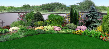 Natural grounds surrounding a home, 3d render Royalty Free Stock Image