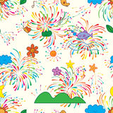 Natural growth colorful firework seamless pattern. This illustration is design abstract natural bring the colorful firework happy the atmosphere in seamless Stock Image