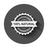 100% natural grunge rubber stamp. Vector illustration with long. Shadow. Business concept guaranteed natural stamp pictogram Stock Photography
