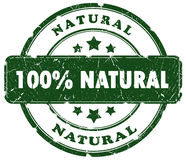Natural grunge stamp. 100 percent natural grunge stamp Royalty Free Illustration
