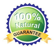 Natural guarantee label. Illustration of natural guarantee label on white background Stock Photo