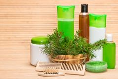Natural hair care cosmetics and accessories Stock Photos