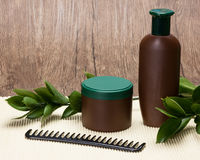 Natural hair care cosmetics with copy space. Shampoo, hair mask and comb with fresh green leaves. Natural hair care cosmetics with copy space stock photo